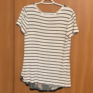 Stripe and floral knotted tee